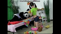 bear panda seducing girl brunette Attractive