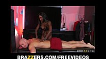 Curvy Ebony masseuse oils herself up for some deep anal porn videos