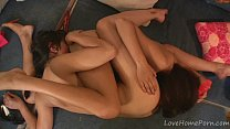 Skinny lesbian girls having fun with each other