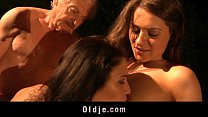 Lukcy grandpa fuck in threesome with top hooties