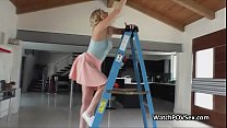 Fingering girlfriends ass while on ladder