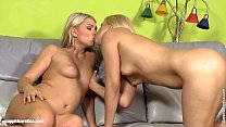 Beautiful blondes Rikki and Lucy H go down on e...