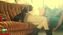 Young couple fucking on sofa at breakfast IV 047