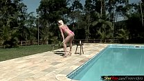 body sexy her up oiles and pool the by strips tgirl Feminine