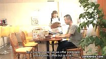 Asian waitress orally pleasing the small dick d...