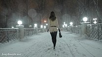 city the through walking fall snow in naked smith Jeny