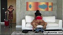 Hot babe Amara fucks bf and her stepmom in thre...