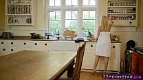 Blonde wife fucks her catering guy on the kitch...