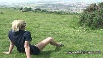 british blonde outdoors flashes panties