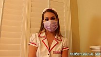 nurse kimber lee gives handjob in her purple latex gloves