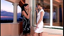 Lesbians strip off to lick and massage one anot...