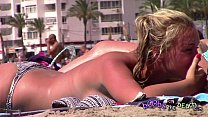 Epic Tanlines and big fake blonde tits with a p...
