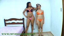 Big Brunette Girl Destroying 2 Girls Between he...
