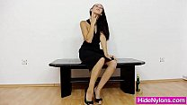 Petite young miss hiding nylon nylons in her pi...