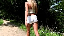 serbian blonde beauty bangs in the park pov