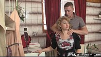 Mother-in-law jumps at his big cock as his wife...