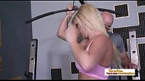 Busty blonde gets an orgasm from her big dick w...