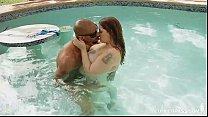 Curvy Tattooed Slut Fucks BBC Underwater in Pool porn videos