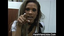 CBT secretary gets rise with a harsh handjob