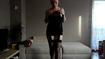 Sophie pregnant in lingerie plays with a toy