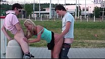 cute blonde teen girl public gang bang orgy threesome with 2 teen guys
