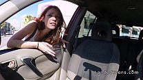 Redhead teen giving blowjob in he car and outdo...