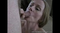 cocksucker gilf gobbles the cum