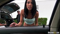 Busty teen Mia Hurley hitches for some gas but ...