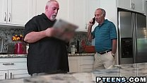 A slutty young brunette prostitute takes care of a horny grandpa's dick porn videos