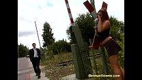 busty german redhead in outdoor threesome
