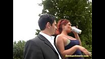threesome outdoor in redhead german Busty
