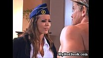 w stewardess airline brunette a is maddox Presley