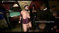 Busty blonde enjoys brutal sex orgy thumbnail