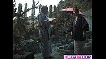 Tomoe Hinatsu sucks cock and gets pool fuck thumbnail