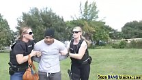 cops maggie and joslyn riding long black  snatcher learns a lesson blackpatrol h