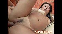 Hairy Asian sprayed with fresh cum