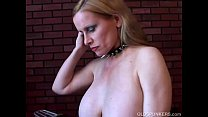 Lovely old spunker in stockings loves to fuck h...