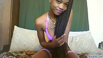 he... fingers lingerie sexy in girl ebony Gorgeous