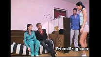 Two teen friend couples get horny