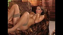 MILF strip and tease in panties and stockings