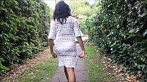 Flashing ebony milf Mels black public nudity and outdoor upskirts adventures