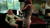 Blonde MILF seduces a lusty girl to fuck in her... thumb