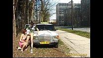 Teen gets cum next to Taxi car porn videos