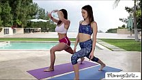 Hottest yoga with the ladies turns into pussy licking and scissor sex porn videos