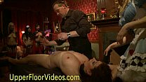 Babe masturbates while flogging at party
