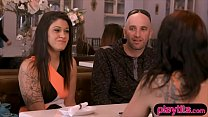 Amateur couple finds a sexy brunette for their ...