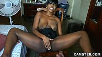 Shaved ebony pussy gets hot and sweaty when mas...