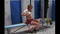 Cute school girl blows a coach's dick