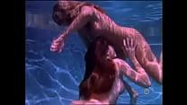 two stunning lesbian girls make love under water