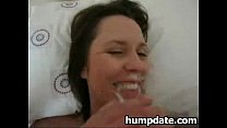 milf rides and sucks cock and gets facialized
